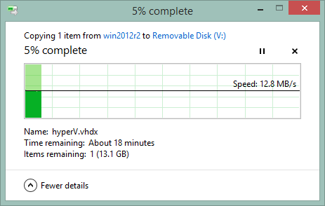 Windows file copy showing 12.8MB/s