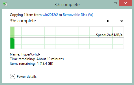 Windows file copy showing 24.6MB/s