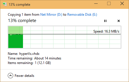 Windows file copy showing 16.3MB/s