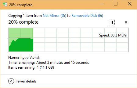 Windows file copy showing 88.2MB/s