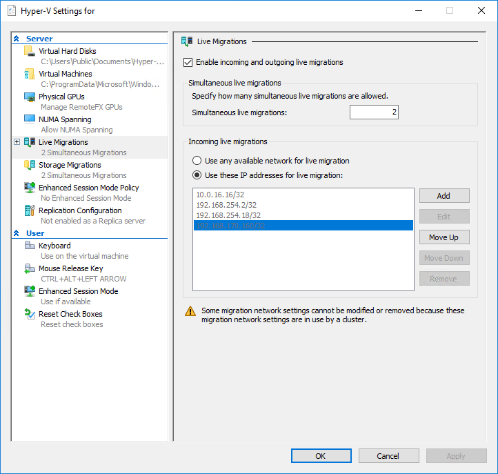 Hyper-V Settings: Unable to edit Live Migration Networks