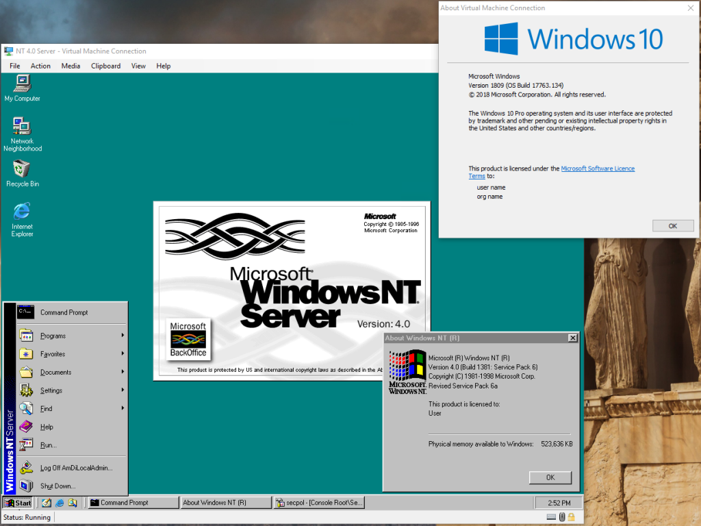 NT 4.0 in Hyper-V 2016