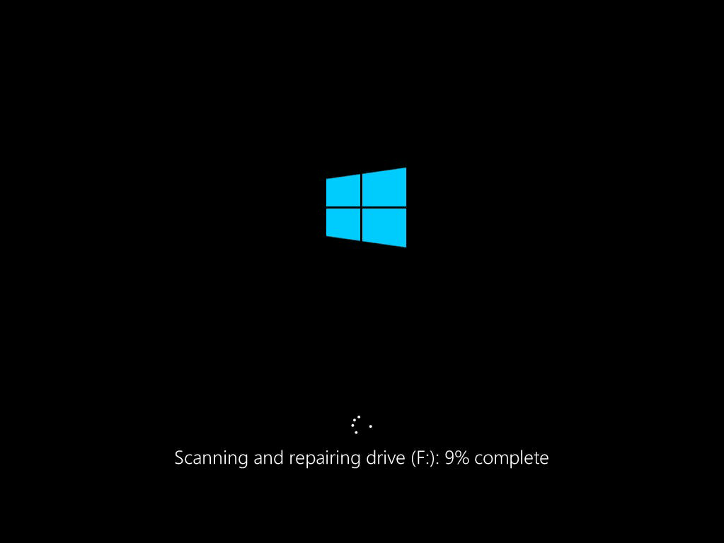 Windows Boot Scanning and repairing drive (F:): 9% complete