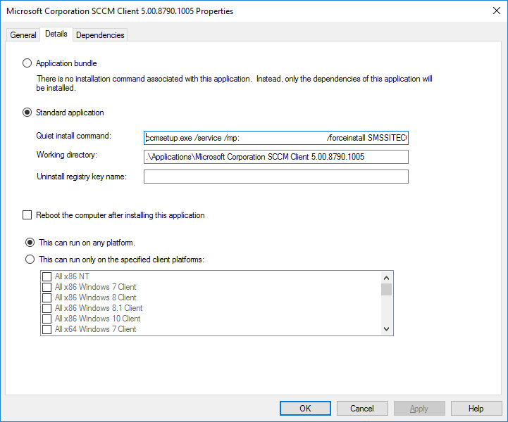 MDT Application SCCM Client Install Command