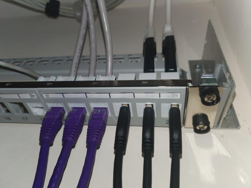 Photograph of USB Tuners mounted in patch panel