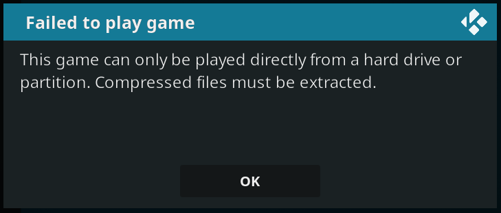 "Screnshot of Kodi ""Failed to play game"" error"