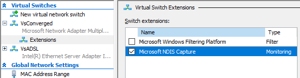 Enable the Microsoft NDIS Capture Extensions