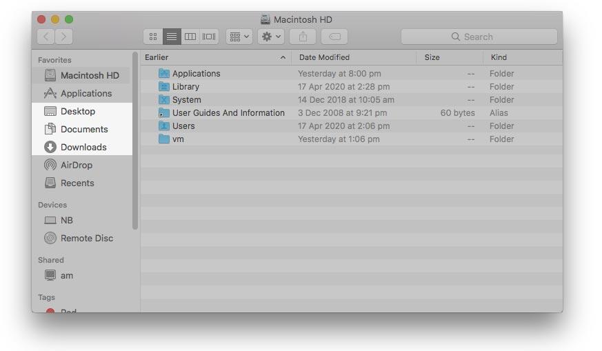 Screenshot of macOS Finder's favourites