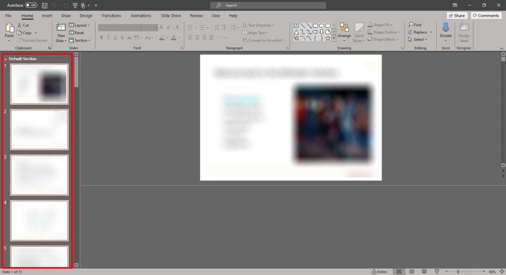 Click on the PowerPoint slide sorter