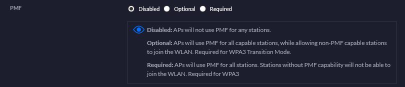 Disabling PMF on in the SSID configuration screenshot